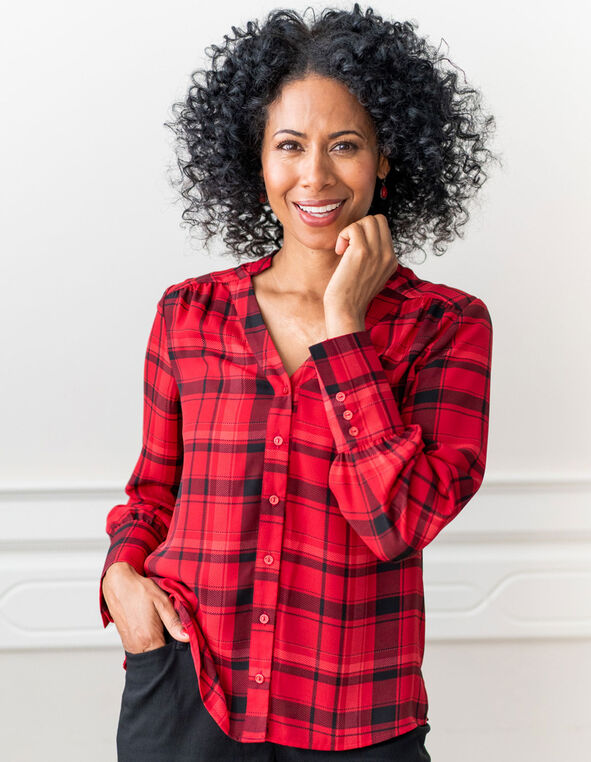 Red Plaid Button Front Blouse, Red, hi-res