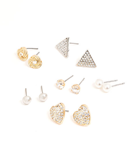 Geometric Earring 6-Pack, Gold/Silver, hi-res