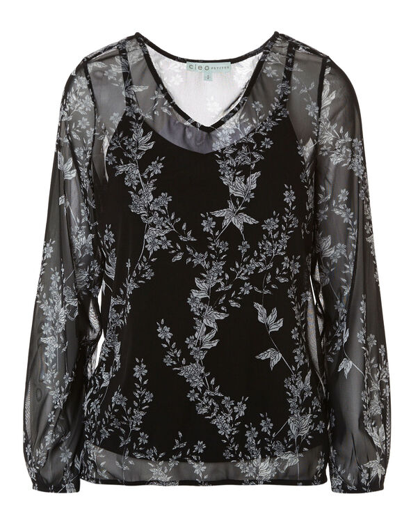 Black Floral Printed Mesh Top, Black, hi-res