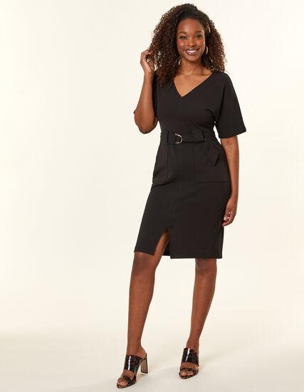 Black Belted Sheath Dress, Black, hi-res