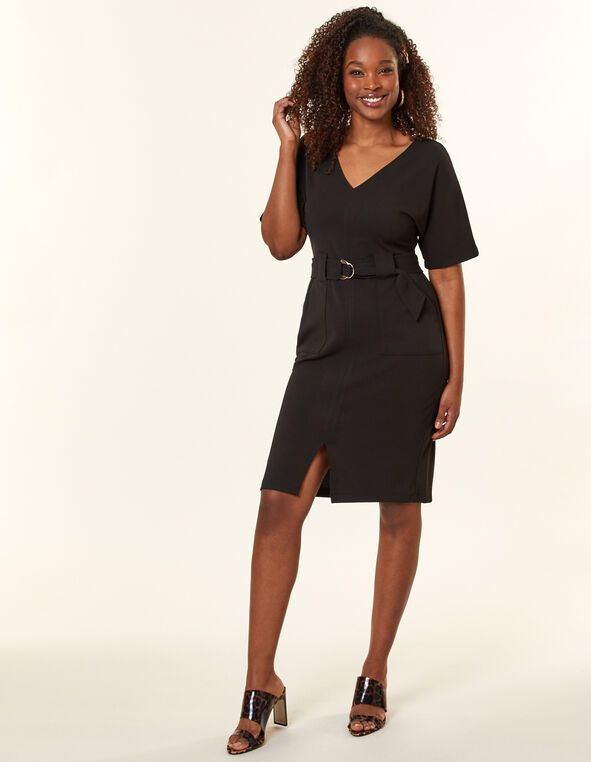 Black Belted Sheath Dress, Black, hi-res