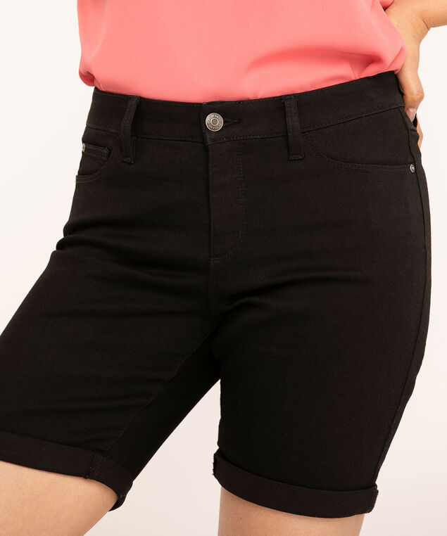 Black Denim Slim Short, Black