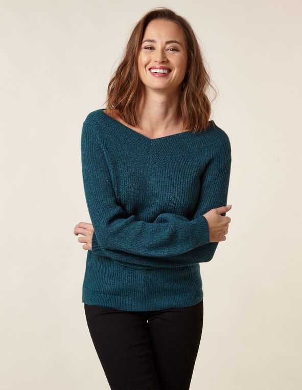 Turquoise Lurex Blouson Sweater, Turquoise, hi-res