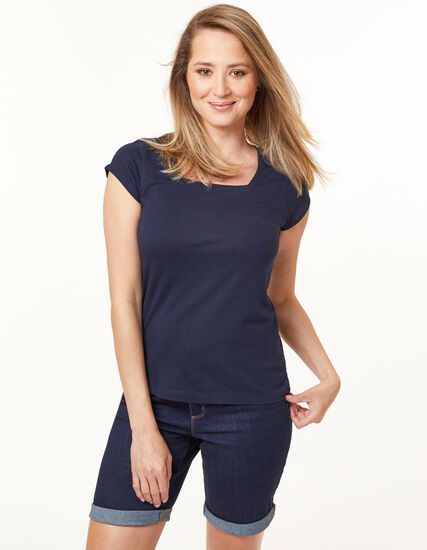 Square Neck Tee, Navy, hi-res