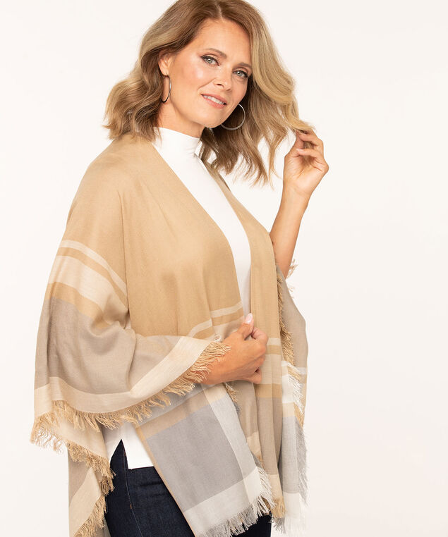 Tan Fringe Trim Wrap, Tan/Ivory/Grey
