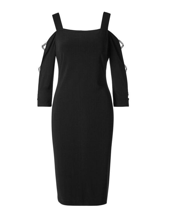Black Bling Cold Shoulder Dress, Black, hi-res