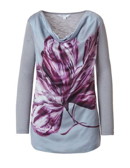 Grey Floral Placement Printed Top, Grey/Pink, hi-res