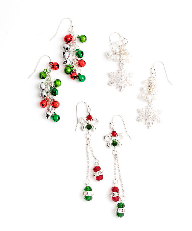 Holiday Drop Earring 3-Pack, Silver