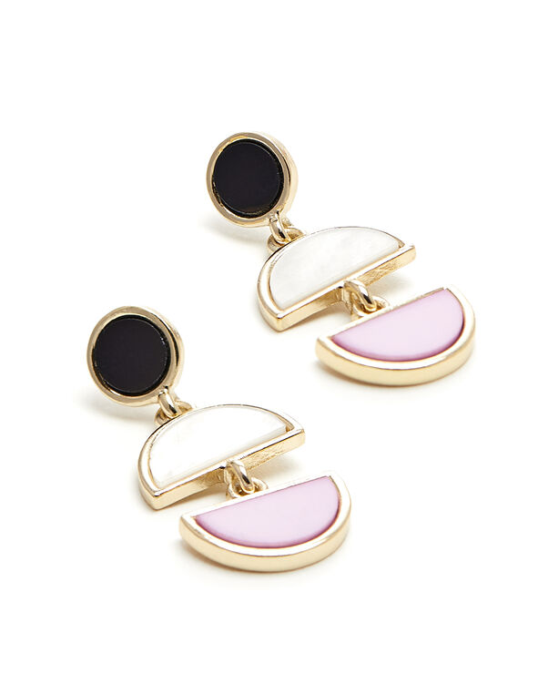 Tri Drop Earring, Gold/Pink, hi-res