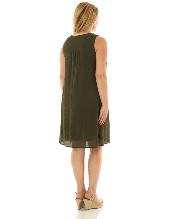 Olive Embroidered Gauze Dress, Olive, hi-res