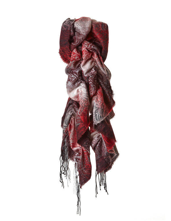 Red Paisley Boa Ruffle Scarf, Red, hi-res