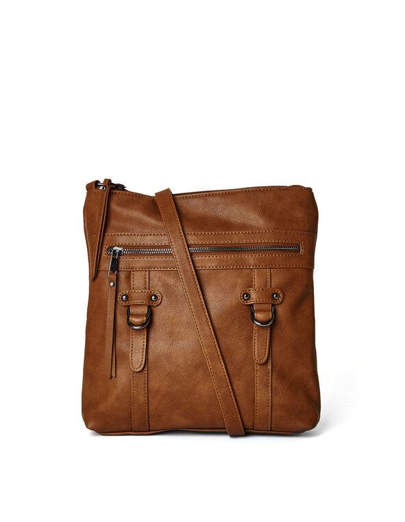 Brown Flat Cross-Body Handbag, Brown, hi-res