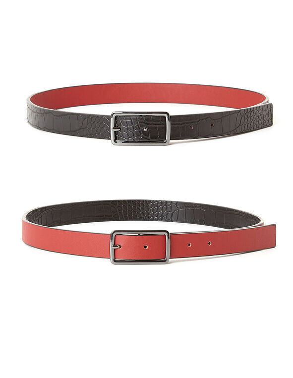 Black Croco/Red Reversible Belt, Red/Black, hi-res
