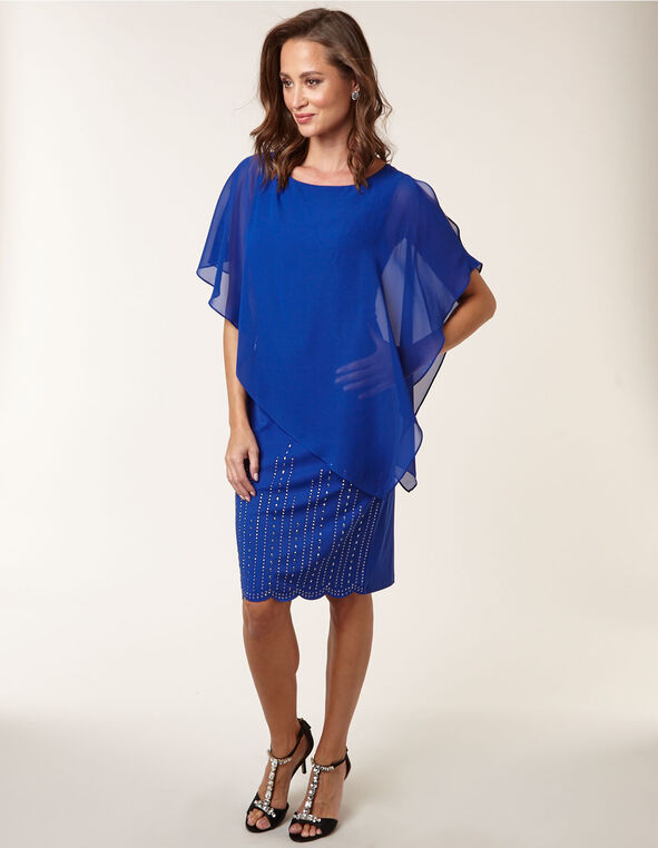 Sapphire Popover Sheath Dress, Blue, hi-res