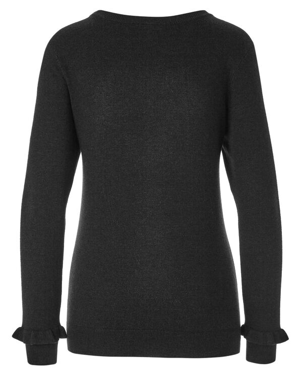 Black Crew Neck Sweater, Black, hi-res