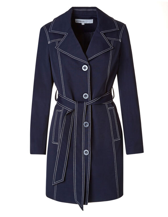 Navy Trench Coat, Navy, hi-res