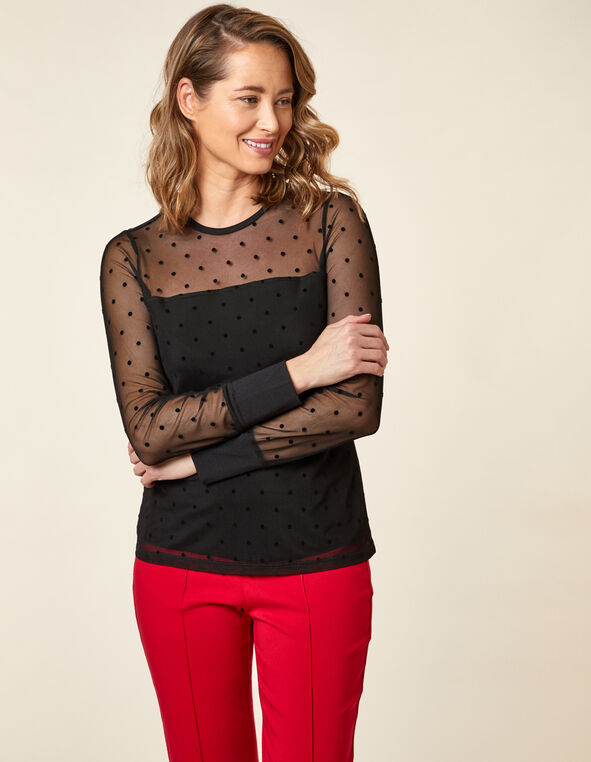 Black Swiss Dot Mesh Top, Black, hi-res