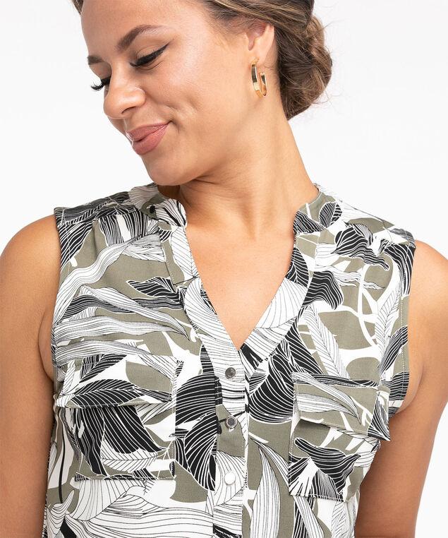 Sleeveless Y-Neck Knit Top, Olive Botanical