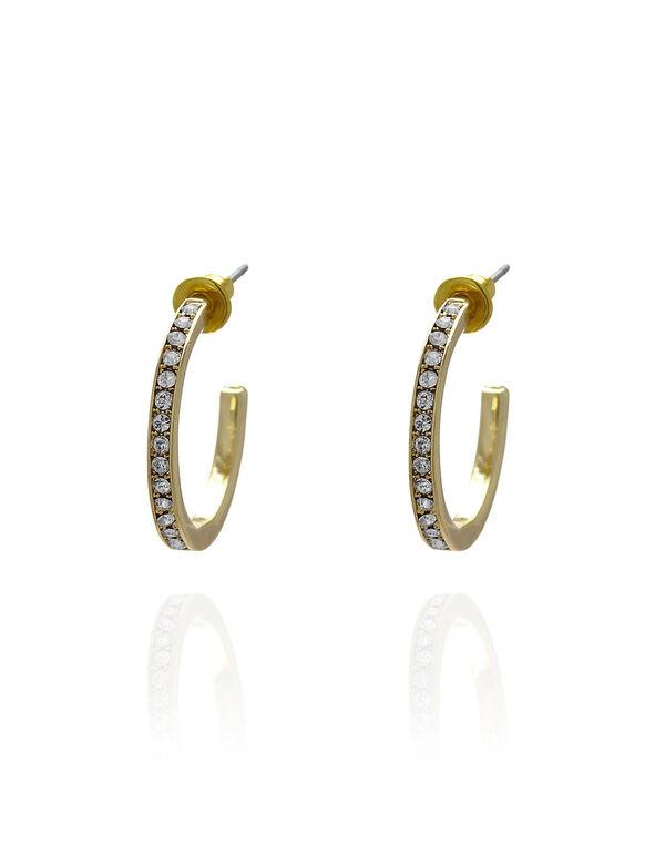 Gold Genuine Crystal Hoop Earring, Gold, hi-res