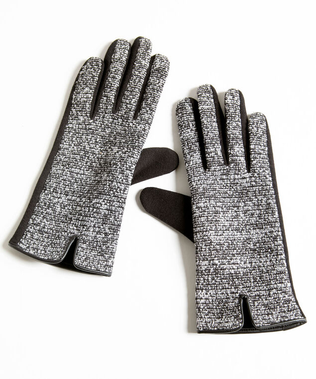 Grey Tweed Gloves, Grey/Black
