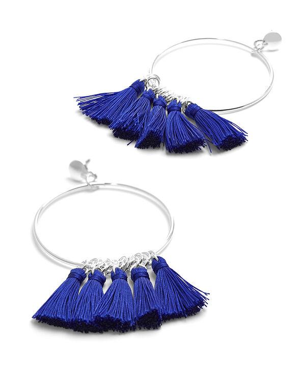 Cobalt Fabric Tassel Hoop Earring, Cobalt, hi-res