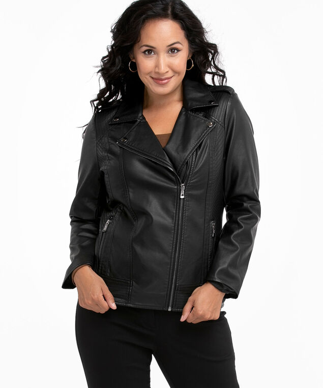 Vegan Leather Moto Jacket, Black