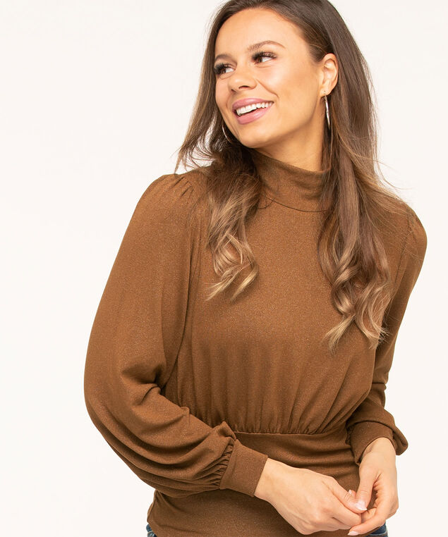 Copper Shimmer Mock Neck Top, Copper Brown, hi-res