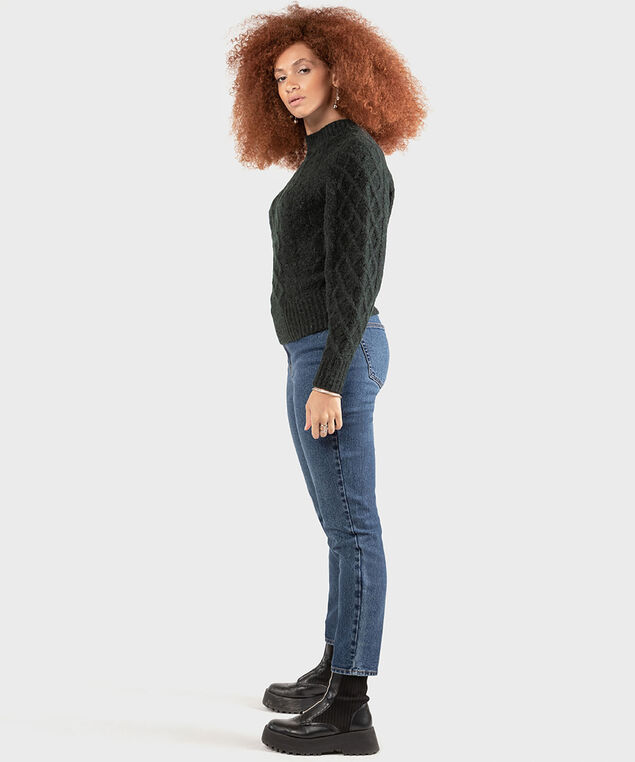 Dex Black Tape Cable Knit Sweater, Pine