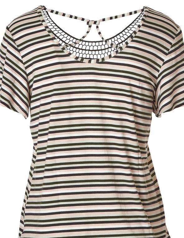 Stripe Crochet Neck Top, Ivory, hi-res