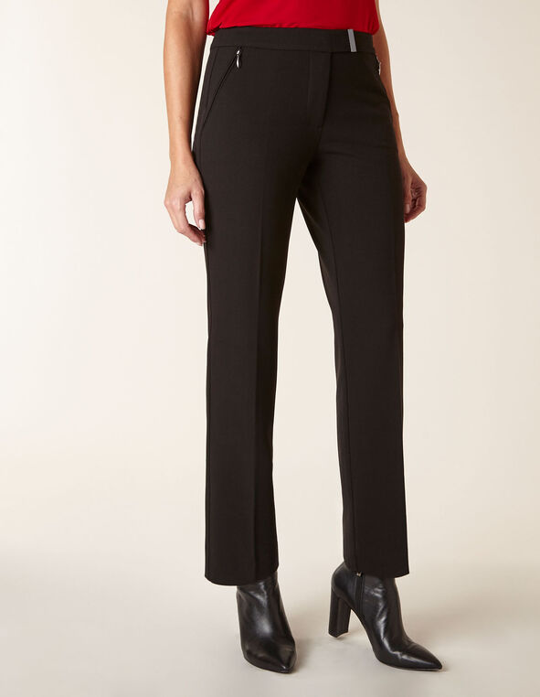 Black Straight Leg Pant, Black, hi-res