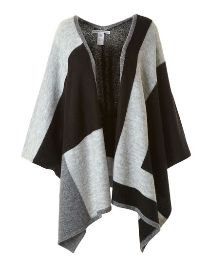Black Knit Colour Block Cardigan, Black, hi-res