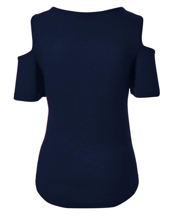 Ink Blue Cold Shoulder Top, Ink Blue, hi-res