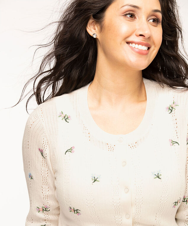Button Front Pointelle Cardigan, White Floral