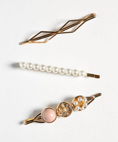 Gold & Pearl Hair Pin Set, Pearl/Pink/Gold, hi-res