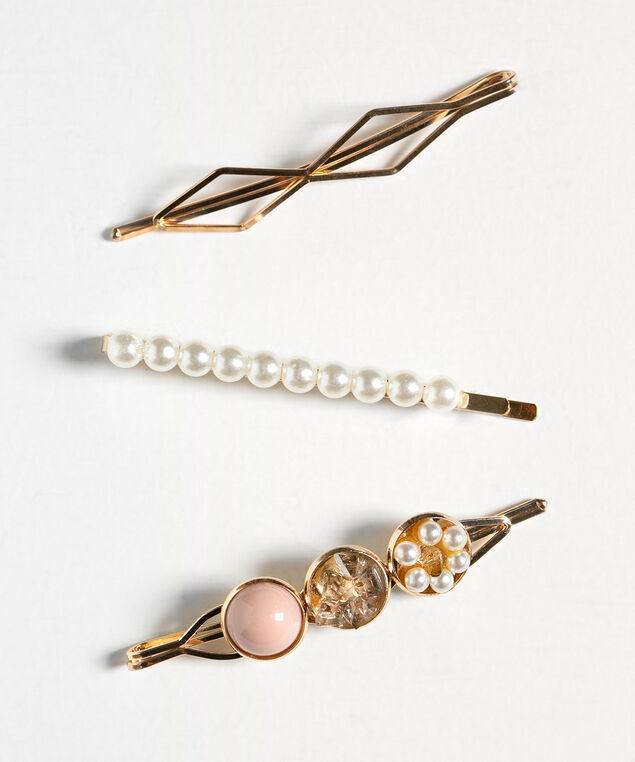 Gold & Pearl Hair Pin Set, Pearl/Pink/Gold, hi-res