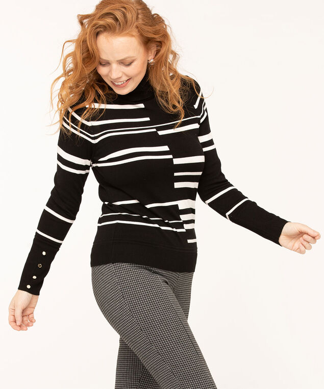 Long Sleeve Essential Turtleneck, Black/White