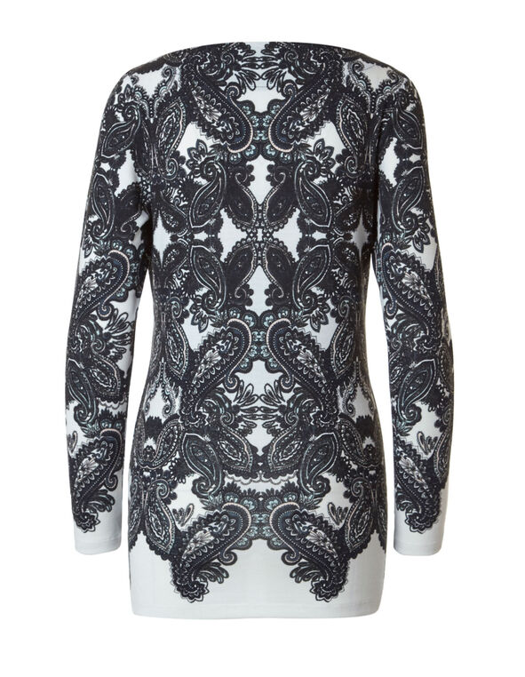 Ivory Paisley Printed Hacchi Top, Ivory/Black, hi-res