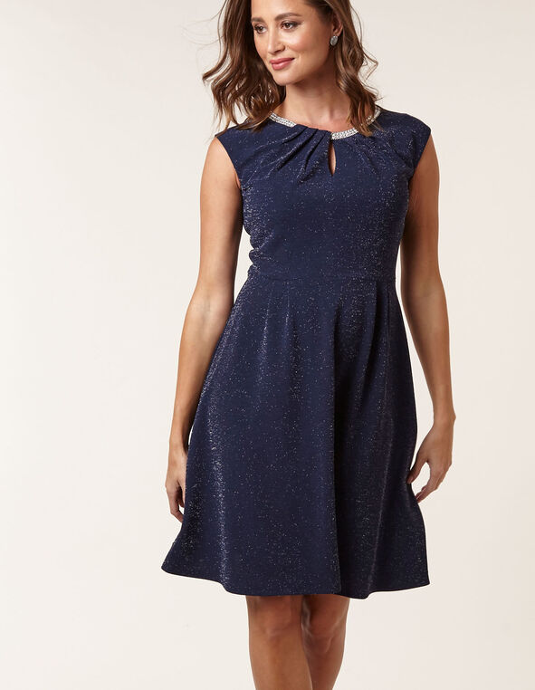 Navy Sparkle Fit & Flare Dress, Navy, hi-res