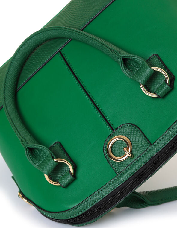 Emerald Snake Trim Dome Handbag, Green/Emerald, hi-res