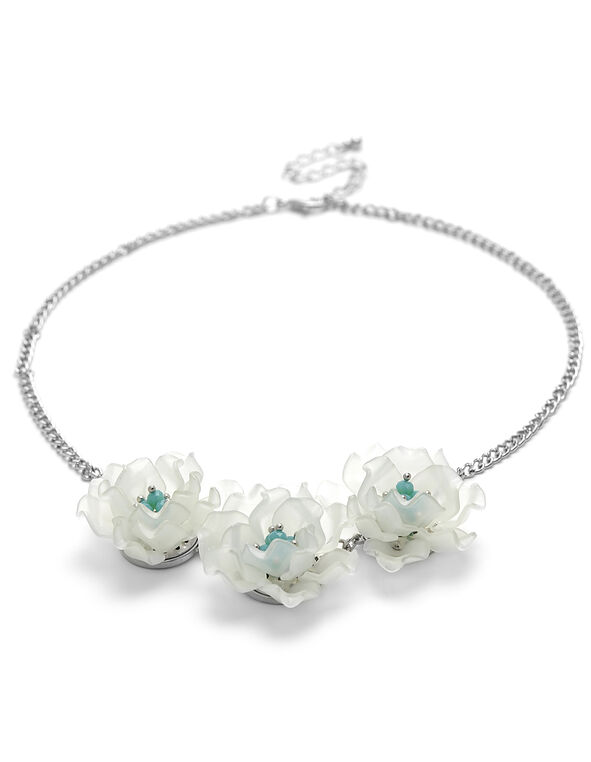 Mint Floral Short Statement Necklace, Mint, hi-res
