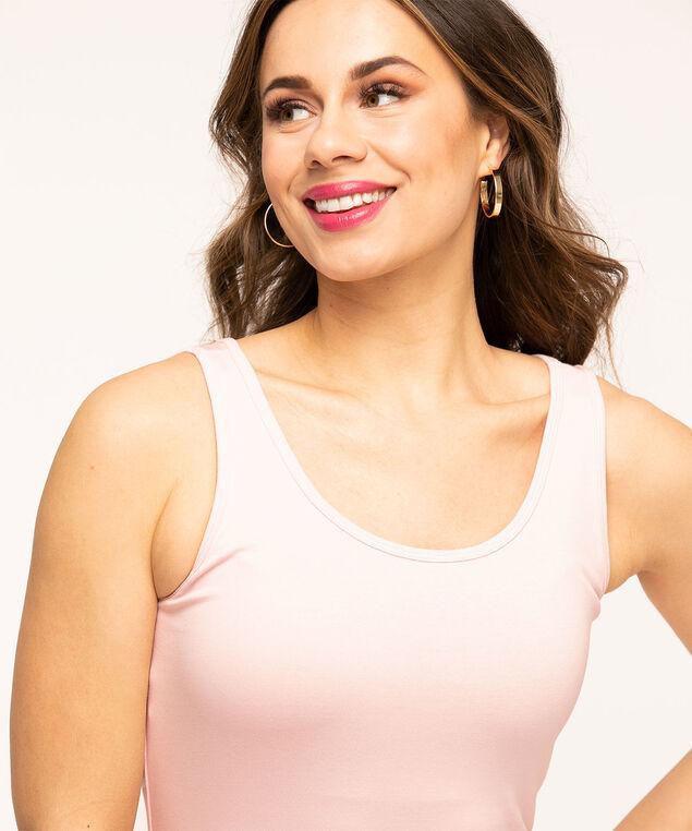 Cotton Blend Scoop Neck Tank, Pink