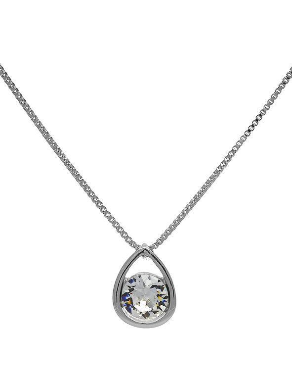 Genuine Crystal Short Necklace, Silver, hi-res