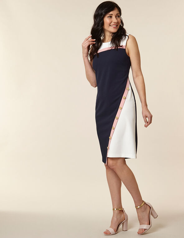 Carnation Colour Block Sheath Dress, Navy/Pink, hi-res