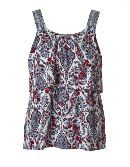 Red Floral Printed Top, Red/White, hi-res