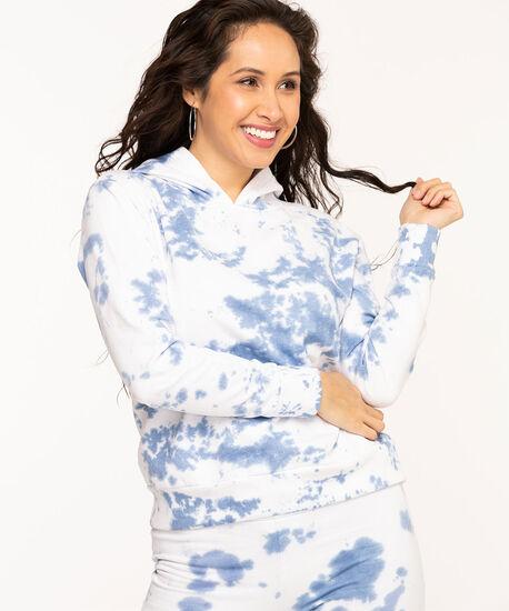 Tie Dye Fleece Pullover Hoodie, Blue Mix, hi-res