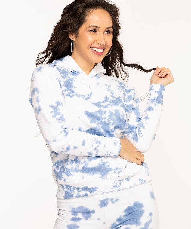 Tie Dye Fleece Pullover Hoodie, Blue Mix