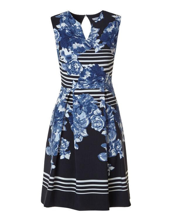 Blue Floral Striped Dress, Blue Floral, hi-res