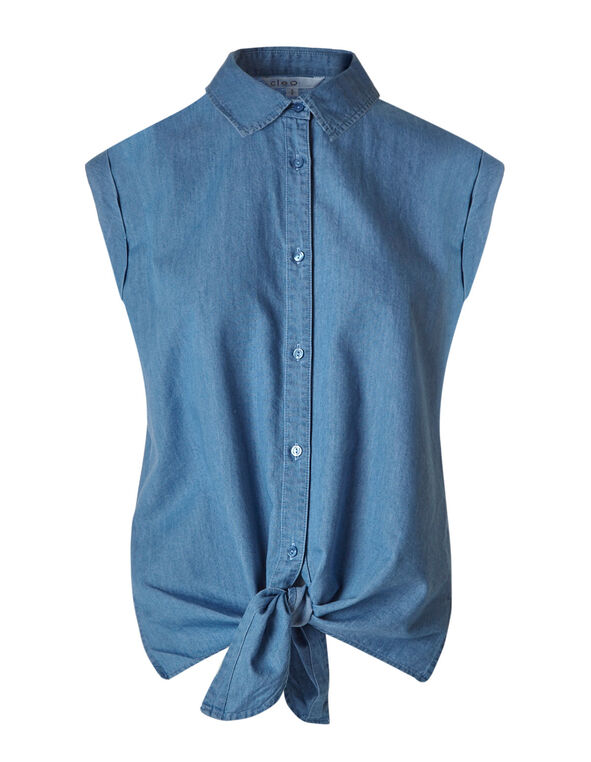 Chambray Tencel Blouse, Chambray, hi-res