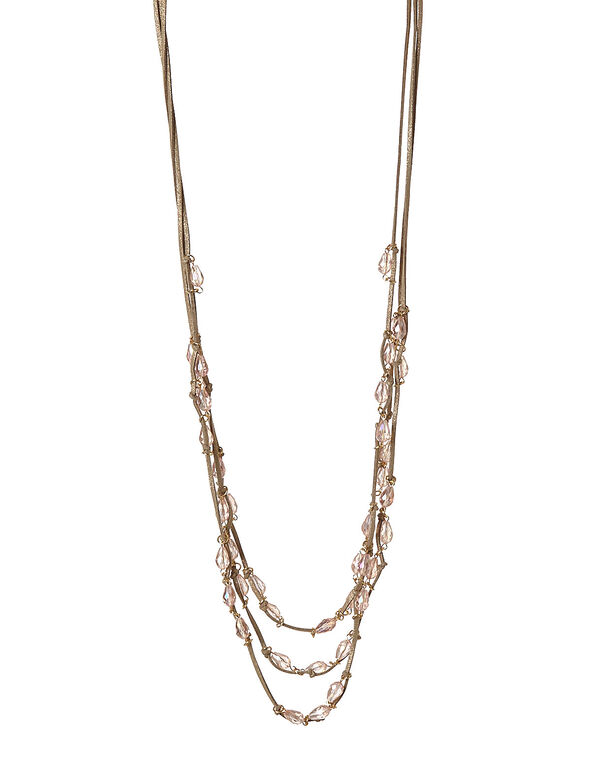 Neutral Cord Beaded Necklace, Pink, hi-res
