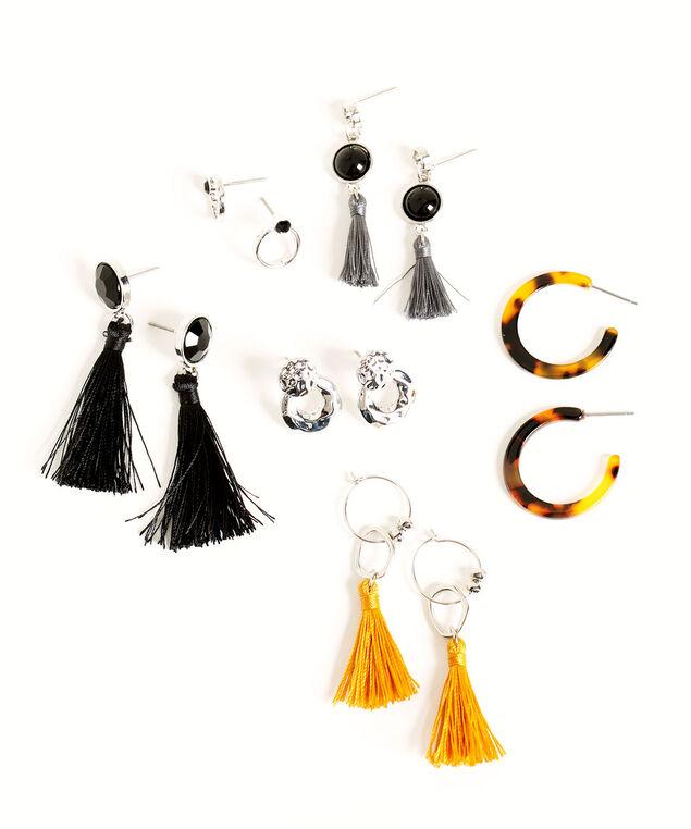 Silver & Black Tassel Earring 6-Pack, Silver/Black/Golden